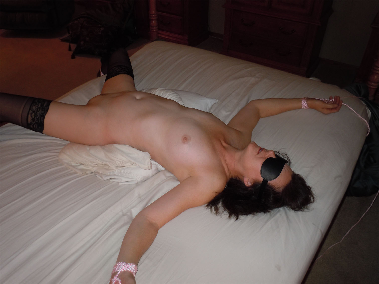 tied Naked and wife blindfolded