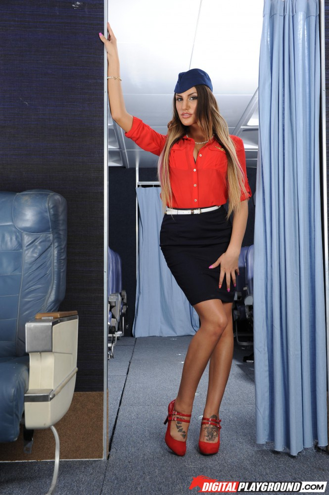 august ames busty flight attendant big tits