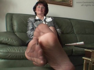 auntys smelly nylon feet in face