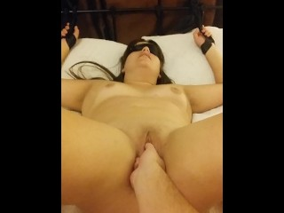 being fingered while tied up and blindfolded