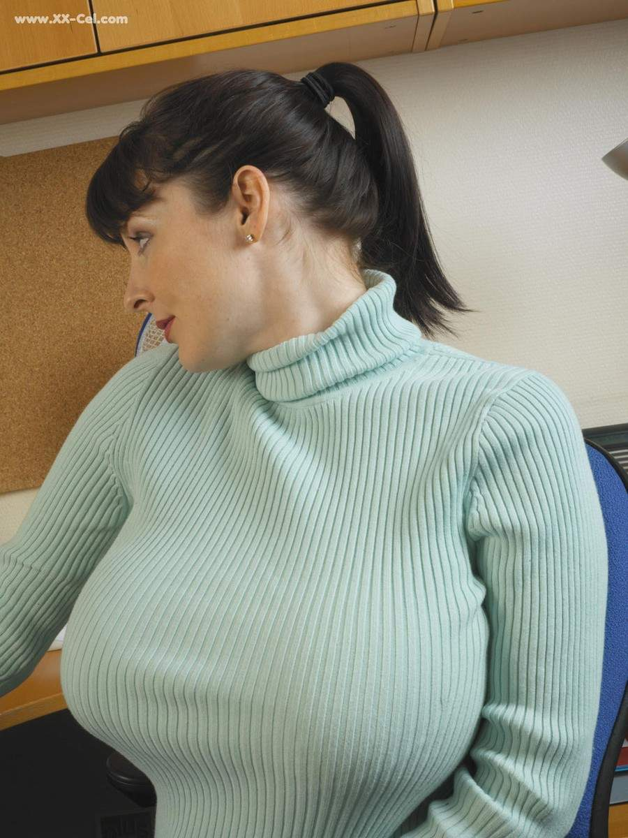 Large tits tight sweater cleavage