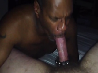 Black gay sucking white cock