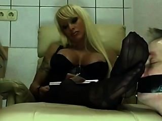 blond milf nylon feet worship porn 2