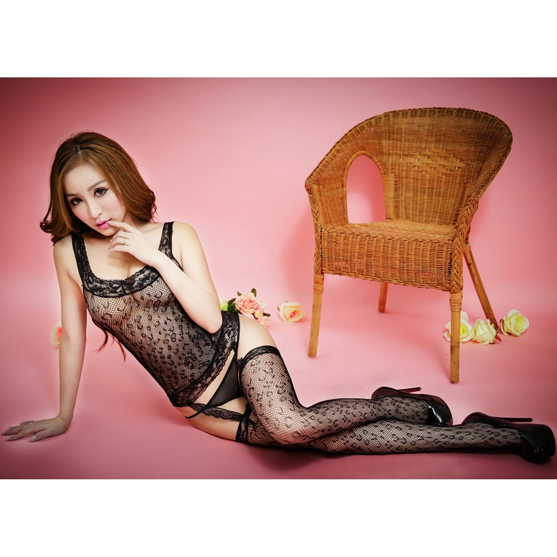 catsuit sexy jumpsuit women fishnet bodystocking black crotchless