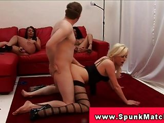 cfnm group party with femdoms fucked their subs