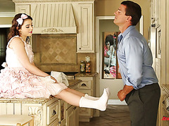 cute doll kylie quinn gives a great surprise to her stepdaddy