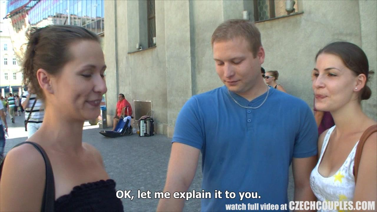 czech couples couple takes money for public foursome