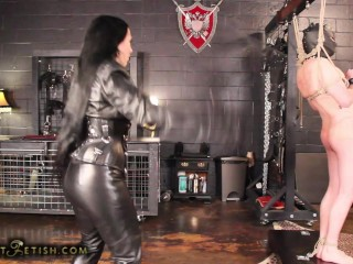 domina in leather whips her slave 2