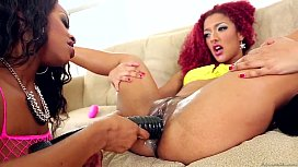 Ebony lesbians using huge toys and squirting when they cum-18948