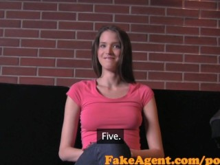 Fakeagent brunette babe takes first time creampie tmb