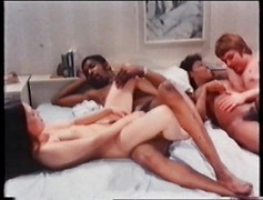 foursome vintage sex between black and white couples interracial old school fuck orgy