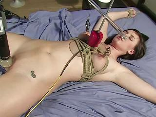 by machine and fucked tied up Girl