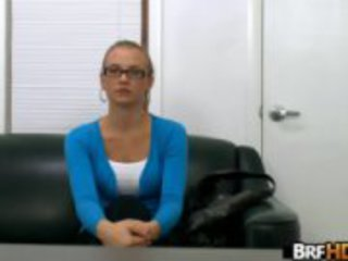 glasses nerdy blonde gets cum all over her glasses in her first porn 1