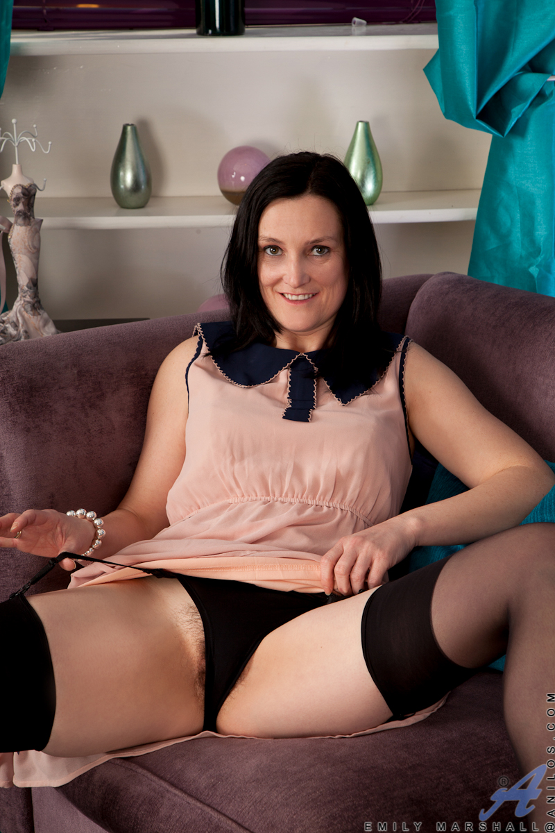 hairy raven haired mature brunette milf emily marshall from nubiles wearing black lingerie