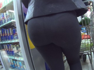 hot ass in see thru leggings shop and street 1