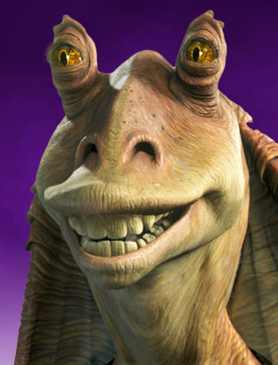 jar binks inspired goofy according to george lucas