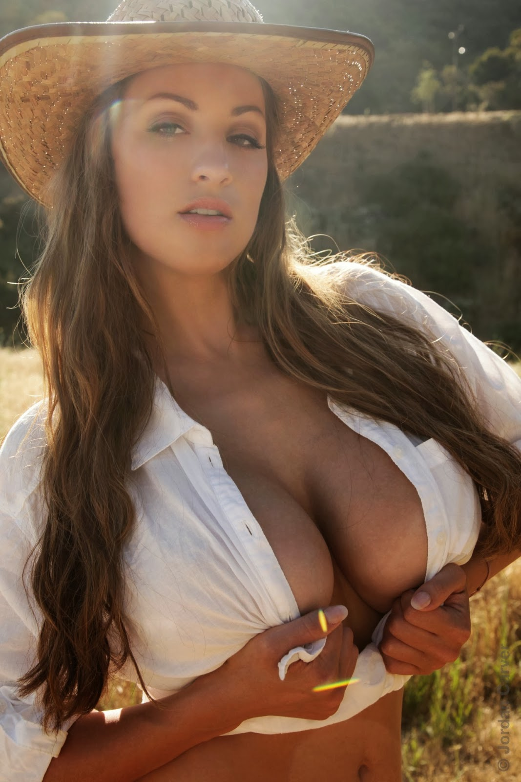 jordan carver the little farmer nude cow girl hat white shirt
