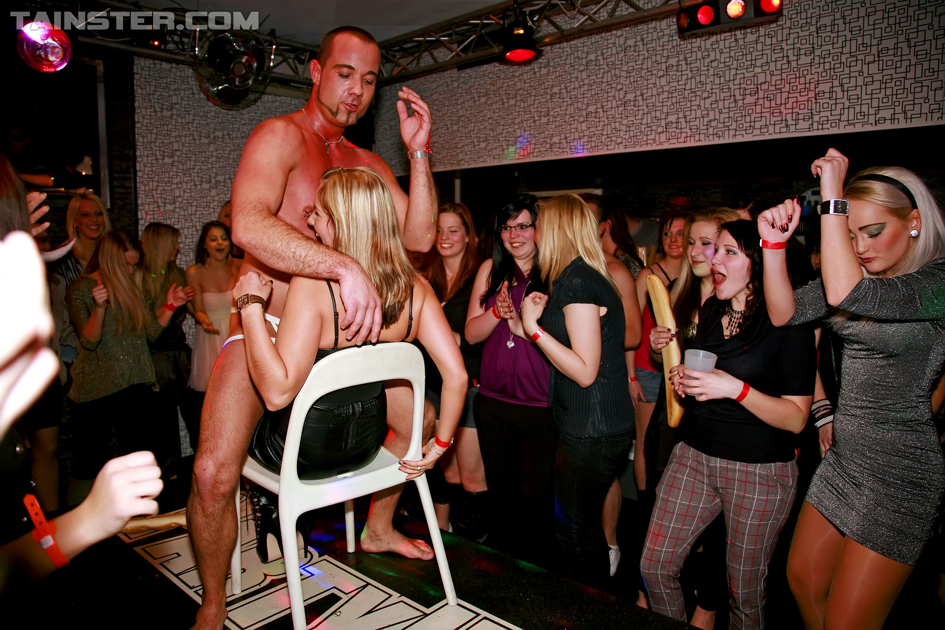 Girls at male stripper party