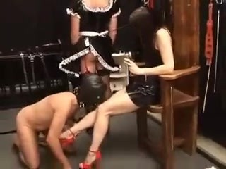 mistress toying with sissy maid and chastity slave