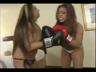 Sexy women with big tits boob boxing topless