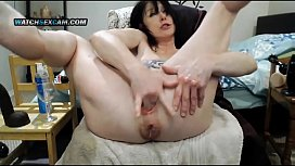 Nasty saggy tits tattoed mature self fisting pussy and asshole
