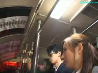 office lady getting her hairy pussy fingered while standing on the bus 1