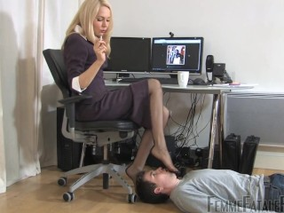 office nylon feet worship 1