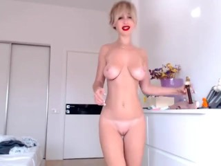 oil on perfect natural busty petite tits