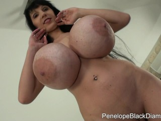 penelope black diamond giant plastic tits and natural toys 1
