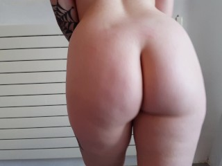 she walks through the room in her naked butt big pale white ass 2