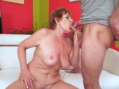 sinful granny with large hooters gets nailed a handsome stud