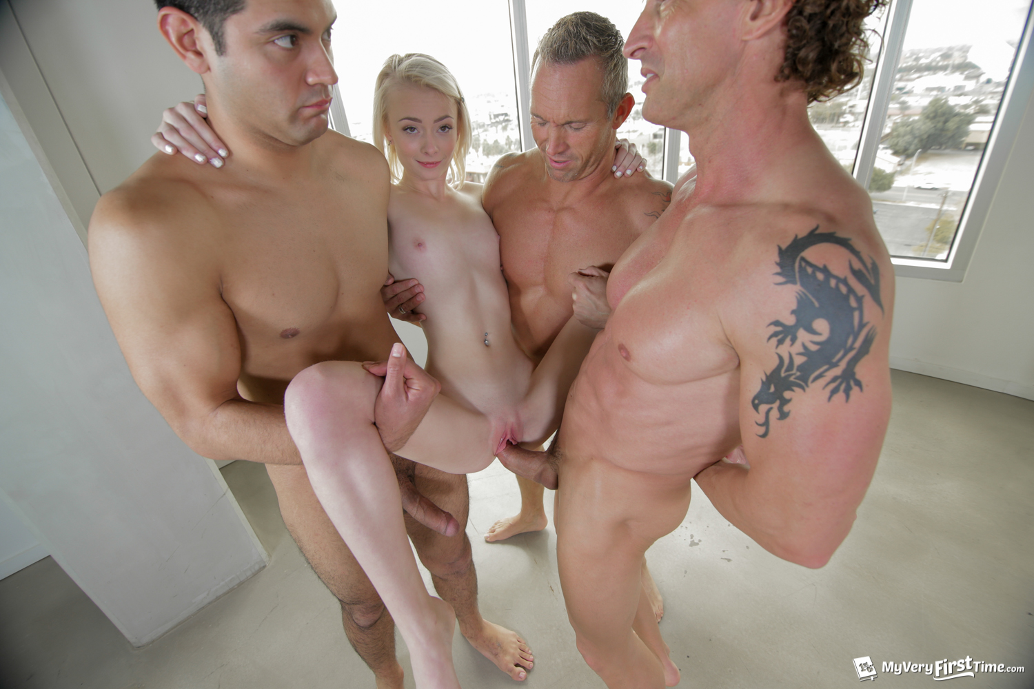 Cute Blonde Teen Gangbang