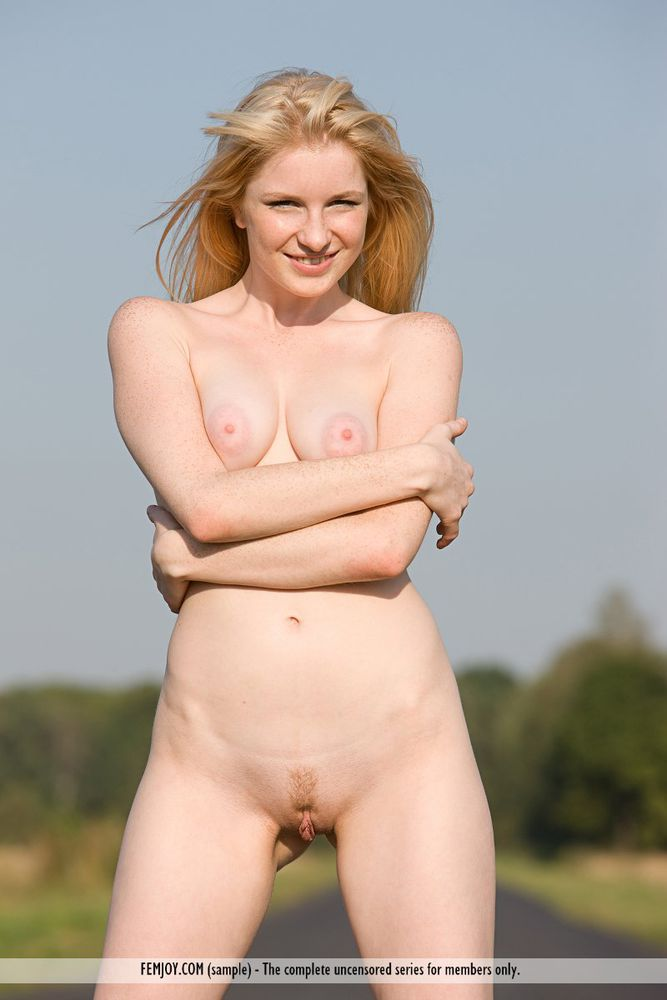 strawberry blonde pale skin nude on the highway