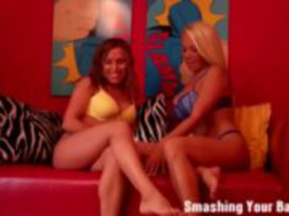 two dommes busting your little balls porn tube video