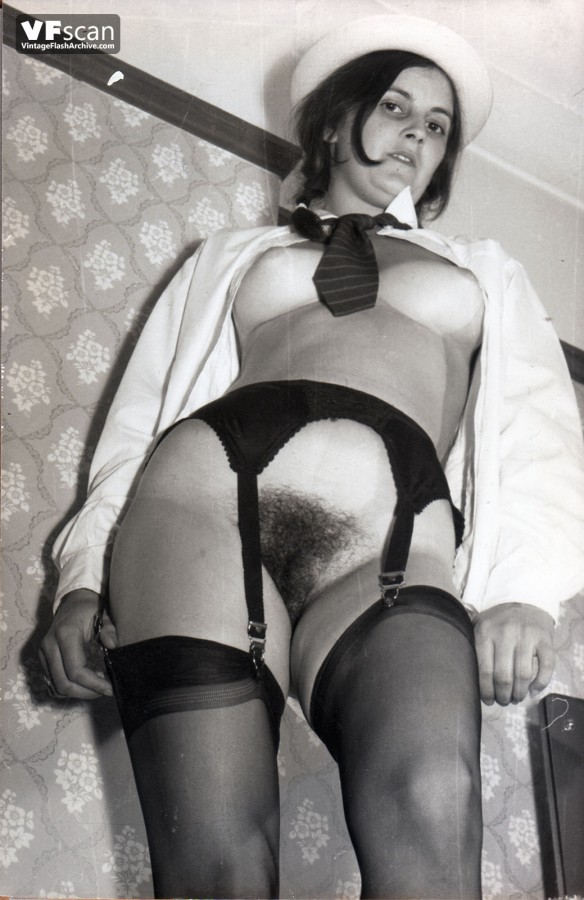 uniformed retro ladies open their stockinged legs and hairy