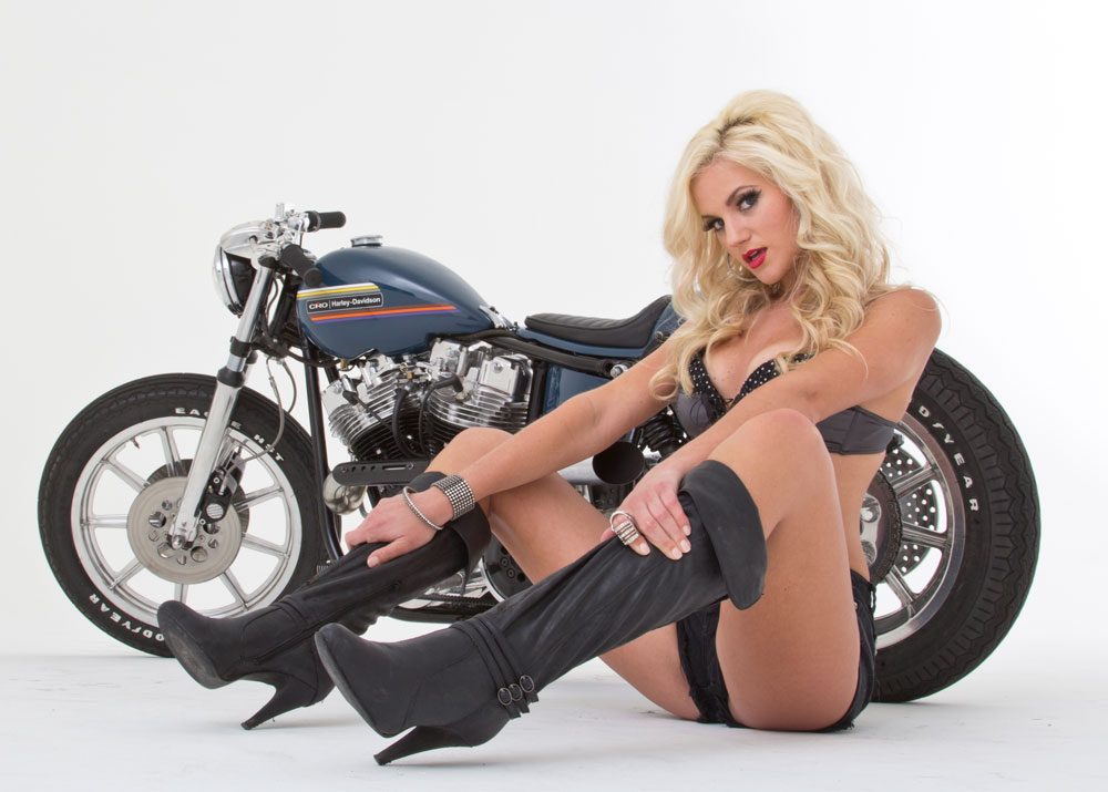 Half naked biker chicks