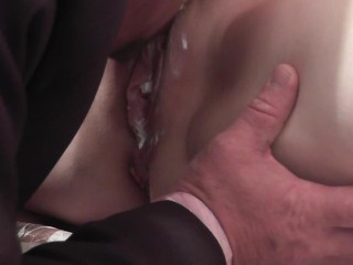 whipped cream secretary instead dinner for boss cunnilingus cream pussy